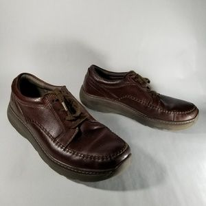 Clarks Brown Leather Lace Up Casual Oxford Shoes